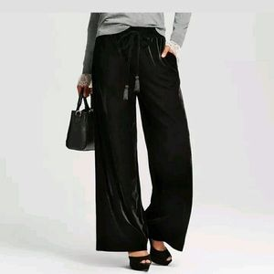 Who What Wear Black Velvet Wide Leg Pants